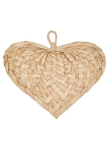 Warm Design El Dokuması Palmiye Kalp Şeklinde Yelpaze Kahve
